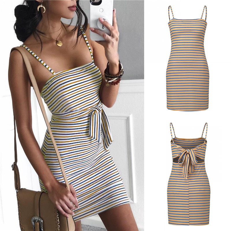 98cd763d121 Susi Rita 2018 Striped Summer Dress Women Sexy Backless Bodycon Dresses  Casual Spaghetti Strap Beach Dress Vestidos Robe Femme-in Dresses from  Women s ...