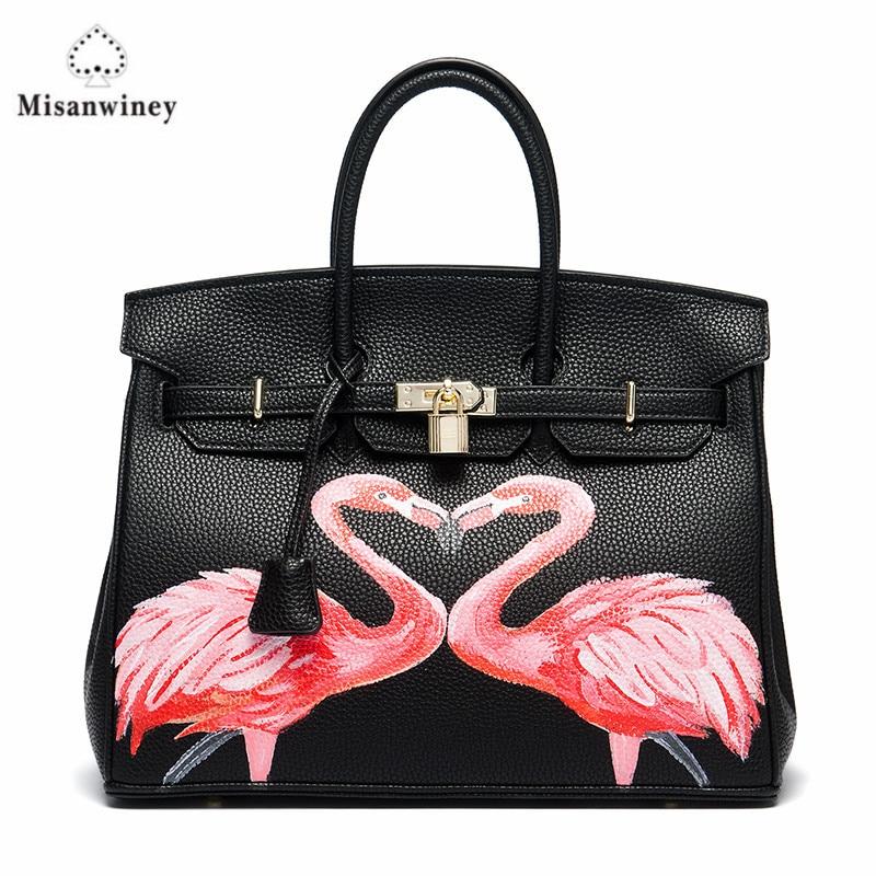 Misanwiney Custom painting graffiti PU Leather Gold Lock Luxury Designer Animal pattern Daily Women Casual Art Design Bags 35CM