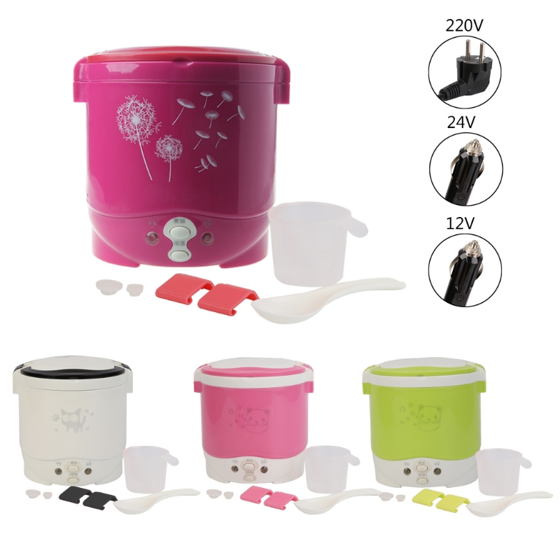 1L Portable Lunch Box Rice Cooker Steamer 220V Stainless Steel Inner Pot EU Plug For Home Use rice cooker parts open cap button cfxb30ya6 05
