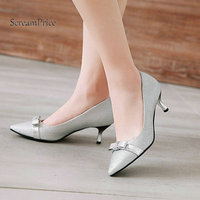 Bling Comfort Thin High Heel Pointed Toe Woman Pumps Fashion Bow Knot Dress Shoes Woman Black Gold Silver