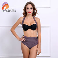 Andzhelika 2016 New Sexy Bikinis Women Strapless Push Up Bikini Set Fold High Waist Bathing Suit