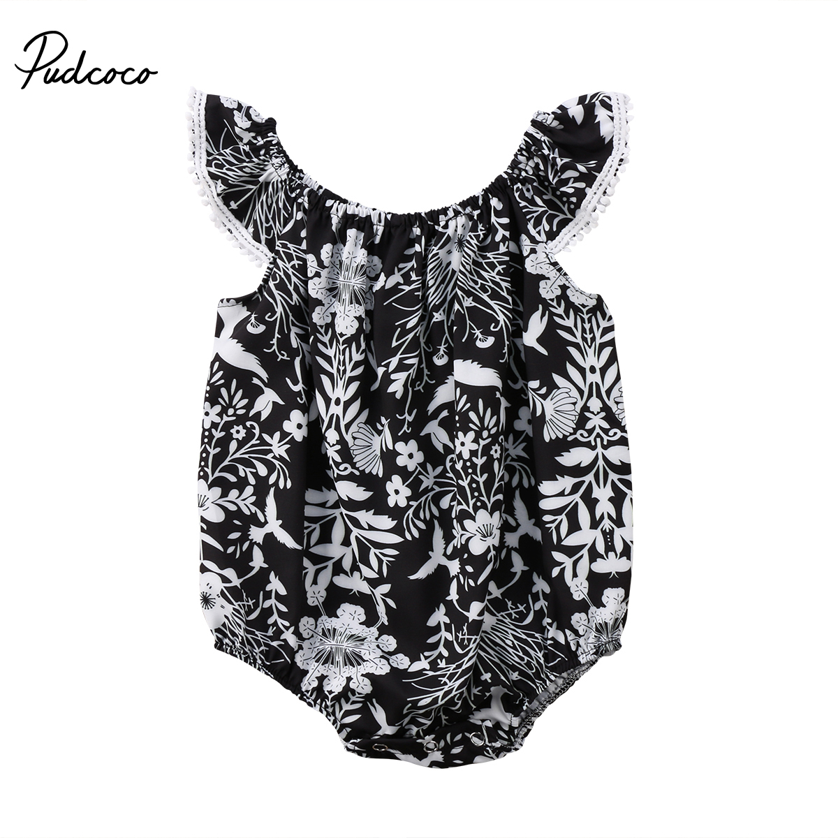 Top Quality Infant Kid Baby Girl Bodysuit Floral print cotton Jumpsuit Outfit Clothes Summer short swings sleeve Tassel Bodysuit