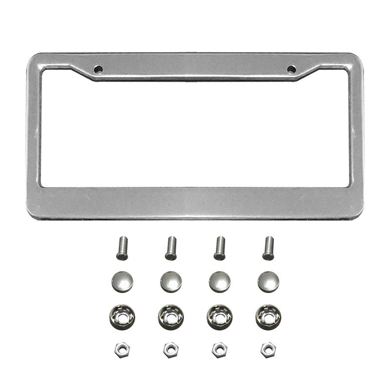 2PCS Chrome Stainless Steel Metal License Plate Frame Tag Cover With Screw Caps For All USA And Canada License Plates