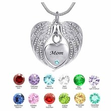 Mom Angel Wing Birthstone Cremation Urn crystal Necklace Heart Memorial Pendant Stainless Steel Jewelry stainless steel cremation jewelry angel wings pendant memorial urn necklace