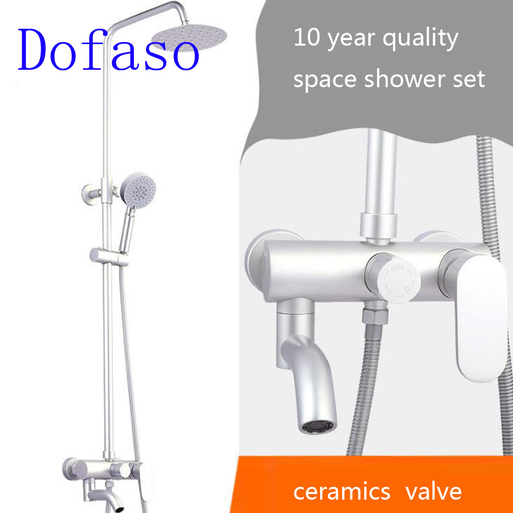 Dofaso rain bath shower faucet with 8'' shower head 1/2'' inch connection black/white/gold/rose shower set dofaso vintage copper black gold shower faucet and white golden shower set mixer square head shower 8 inch