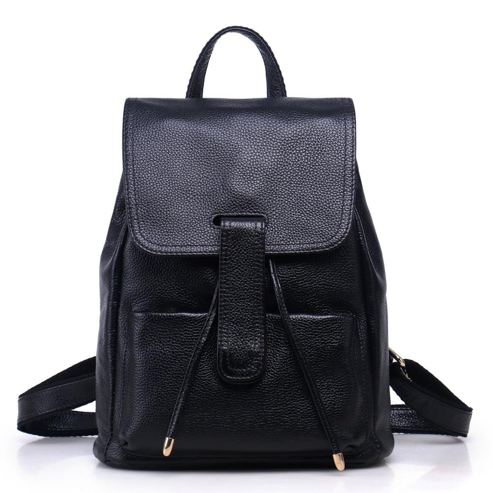 ФОТО Hot Sales 2017  Fashion Brand Genuine Leather Women's Backpacks Cowhide Shoulder Bag Hot Sales School Bag Travel Backpack L098