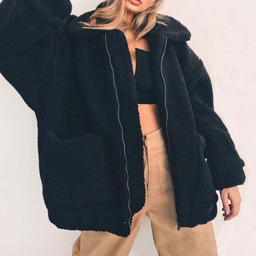 1b7a807588b 4XL Plus Size Faux Fur Coat Woman Winter Thick Warm Teddy Bear Bomber Jacket  Fur Long Sleeve Plush Overcoat Oversize Jackets