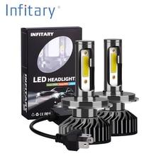 Infitary 2 шт. H7 светодиодный H1 H11 9005 9006 H4 светодиодный автомобилей головной светильник 72W фары для 8000LM Авто Фары Светильник лампы Противотуманные фары светильник s Белый 6500K 12V светодиодные лампы