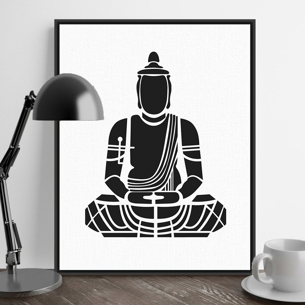 India modern minimalist zen buddha portrait art prints for Modern minimalist wall art