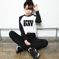 Unisex Loose Style Punk Rock Green Day Logo Women PVC Letter Print T Shirt Female Raglan