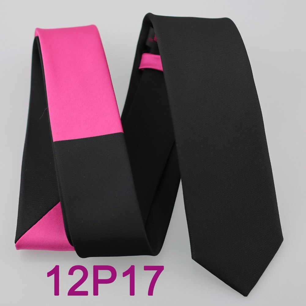 2015 YIBEI Coachella Patchwork Hot Pink Ikatan Simpul Untuk Pria Slim Kurus Sempit Gravata Dasi Kain Microfiber Jacquard Hitam