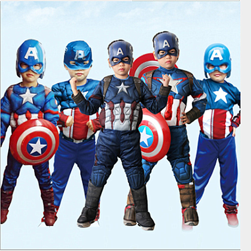 Superman Cosplay Muscle-Costume Carnival-Party Captain-America Children's Jumpsuit Clothin