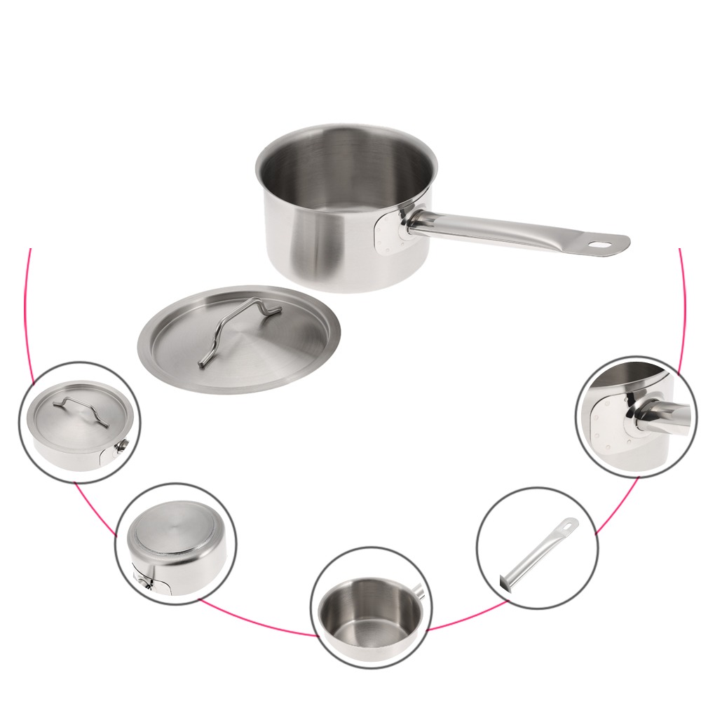 Stainless Steel Compound Bottom Sauce Pan Saucepan with Lid ...