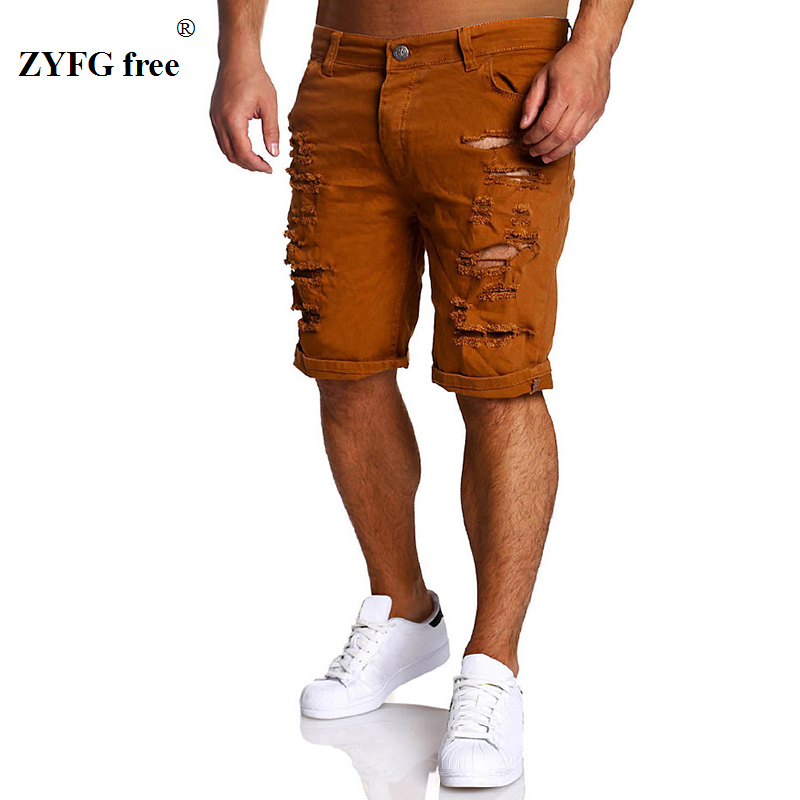 2019 Novos Homens Moda Verão Shorts Bezerro-comprimento Buraco Shorts de Algodão Casuais Mens popular Estilo na altura do joelho Shorts Magro Regular