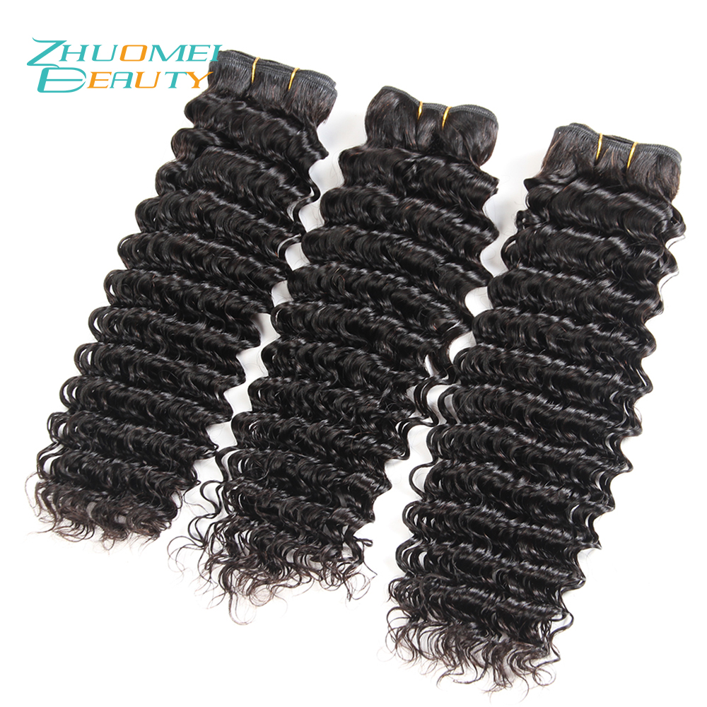Zhuomei BEAUTY Indian Deep Wave 3 Bundles Human Hair Weave Bundles Natural Colour Remy Hair Weaving 8-28inch Free Shipping