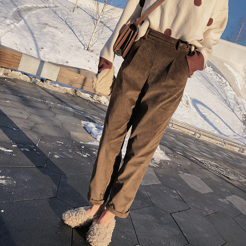 MISHOW 2019 Corduroy Pants 2019 Autumn Winter New Causal High Waist With Pocket Warm Harem Pants MX18D2564