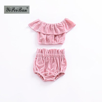 INS Summer Kids 2PCS Suits Girls Tops And Bread Pants Set Baby Fashion Cute Gold Velvet
