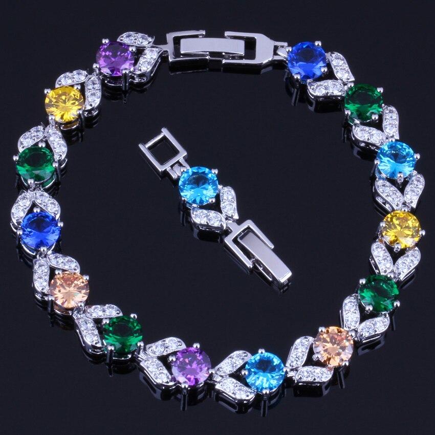Precious Multi-Gem Multi-Color Sky Blue Cubic Zirconia 925 Sterling Silver Link Chain Bracelet 18cm 20cm For Women V0044