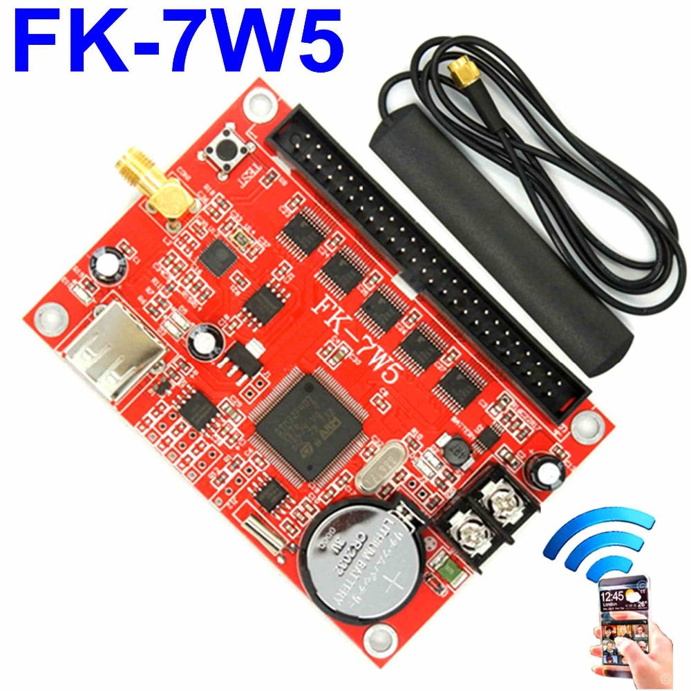 FK-7W5 wifi+USB led controller board 4096*48/768*256 pixel wireless PC/Phone APP support p10,p13.33,p16,p4.75 led control cardFK-7W5 wifi+USB led controller board 4096*48/768*256 pixel wireless PC/Phone APP support p10,p13.33,p16,p4.75 led control card