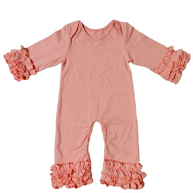 1cbd981799f8 Fall winter Wholesale Baby Icing Ruffle leg Romper mustard plum olive  peacock Boutique Newborn plain Color pajama gowns Jumpsuit