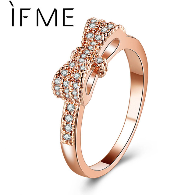 IF ME Full Crystal Cubic Zirconia Bowknot Rings For Women Rose Gold Silver Color