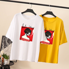 Summer 2019 Kawaii girl White print T-shirt casual short-sleeve simple Female top tee Korean style Chemise Femme Black