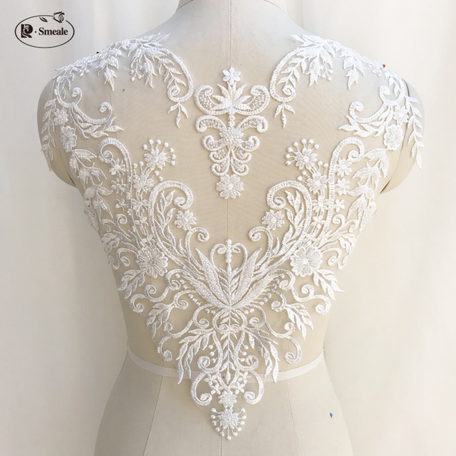 French Lace Handmade Beads 3D Wedding Dress Applique DIY Bridal Headdress Ivory White Lace Collar Lace Fabric Patch RS1234