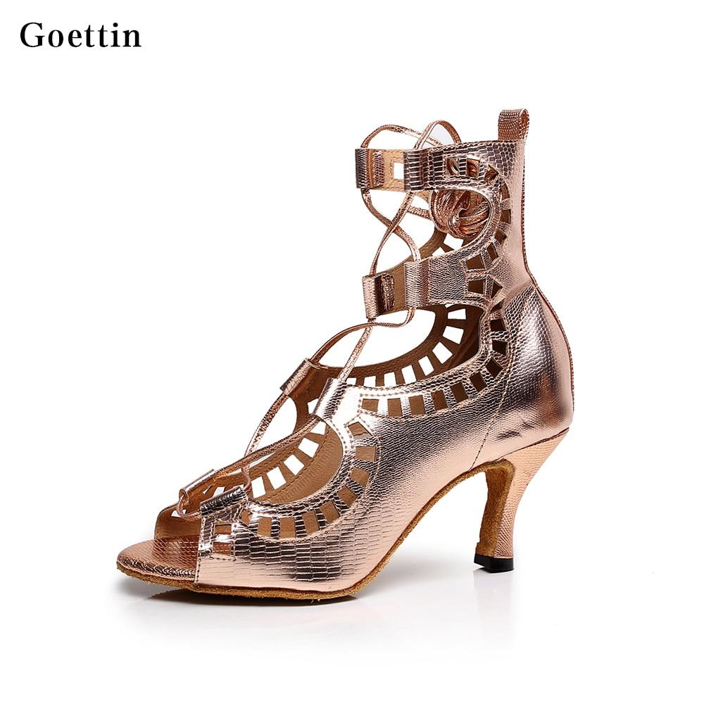 dolgi gležnji plesni čevlji latino plesni čevlji čipke-up čevlji z visoko peto plus velikost