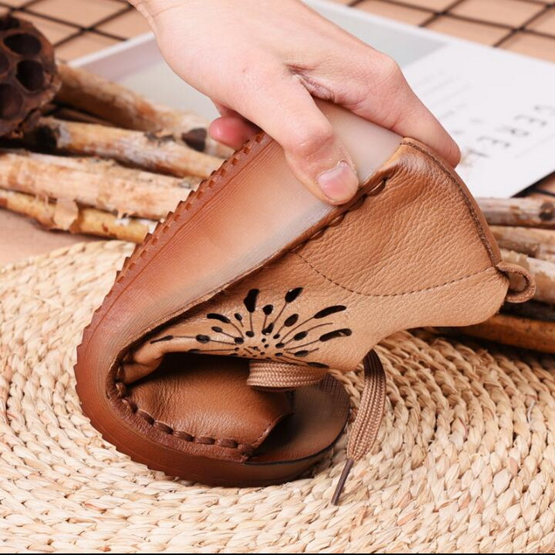 2019 summer new Genuine Leather Gladiator Sandals retro handmade Lace Up Flat Heels Sandals Ladies Casual flat Shoes - 4