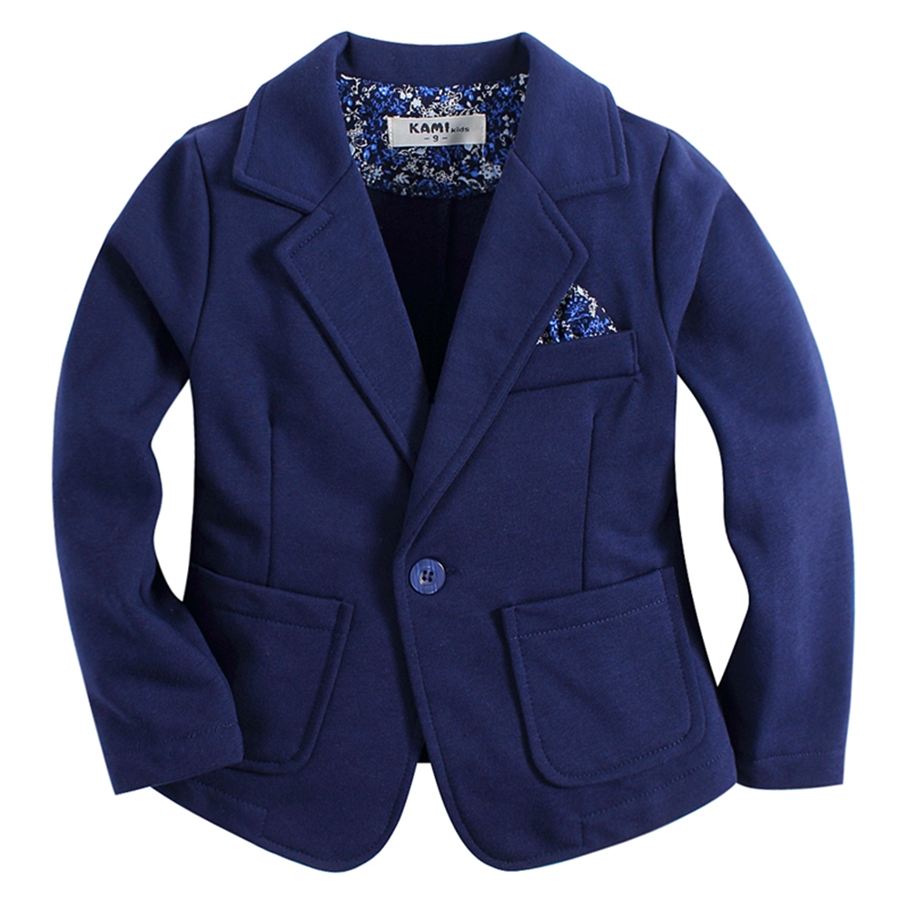 new arrival knitted cotton 100% toddler <font><b>BOY</b></font> blazer BB161103A solid blue image