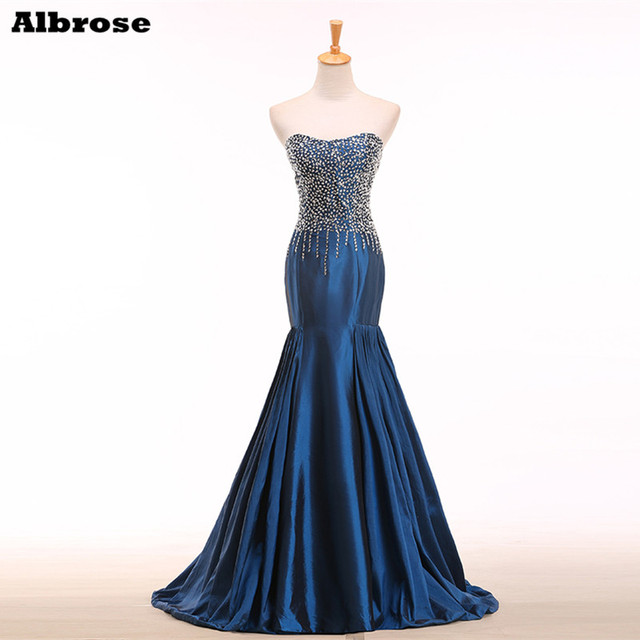 Real Sample Crystal Full Beads  Mermaid  Evening Dress Open back Blue  Dress Elegant Long Formal  Dresses 2015 Women Gown