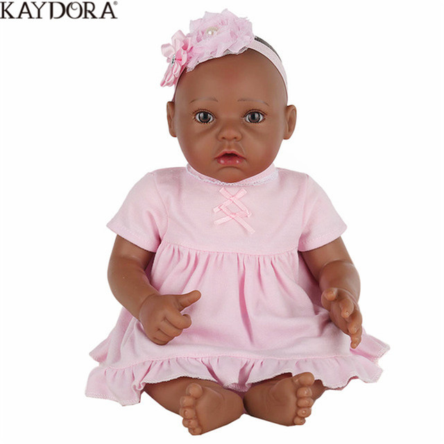 KAYDORA 16 Inch Silicone Dolls Reborn Gift To The Girl Black Doll Babies Cute Toys Soft Plush For Kids Baby Born Price
