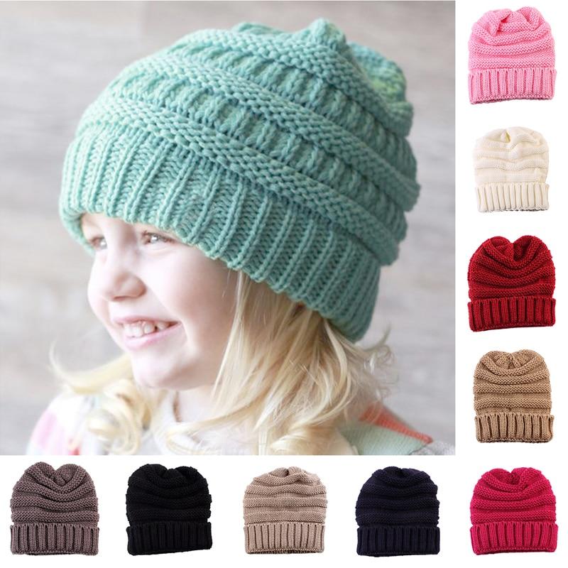 1 PC Kids Girls Boys Warm Winter Wool Knitting Beanie Hat Crochet Ski Ball Cap