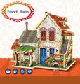 Different French Construction style 3D Wood Puzzle DIY wood French bulidings  F124/125/126/127
