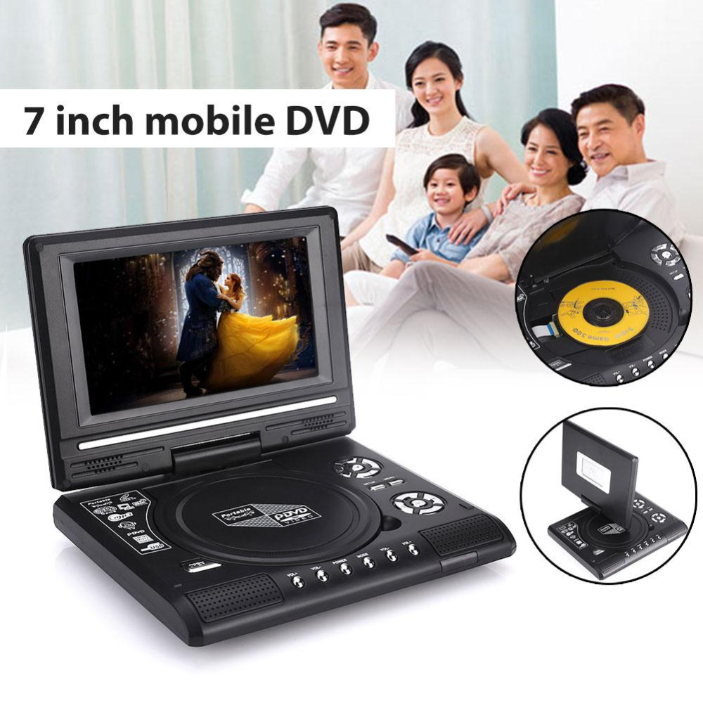 Portable 7inch HD DVD Player Swivel Screen TV Player Support Game Radio U Disk 9 portable dvd player w game radio function black