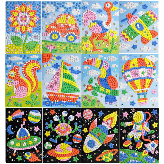 Arts & Crafts, DIY toys Kids Space Mosaic Art Set-Make EVA Your Own Picture Activity ,My First Sticky Mosaics Vehicles For Kids