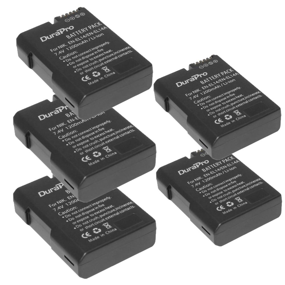 5x EN-EL14 ENEL14 EN EL14 Li-ion Battery for Nikon D3400 D5600 D5300 D5200 D5100 D3300 D3200 D3100 for COOLPIX P7100 P7200 P7700 en el14 en el14a enel14 el14 1200mah battery for nikon p7800 p7700 p7100 p7000 d5500 d5300 d5200 d3200 d3300 d5100 d3100 df