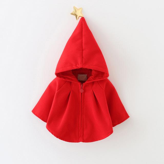 2016 outono inverno bebê meninas jaqueta vermelha cor sólida infantil roupa das meninas para a festa de aniversário bonito estrela recém-nascidos capa para meninas