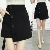 2018 Women's Button Decorate Skirt Spring Summer High Waist Irregular Casual shorts Skirt