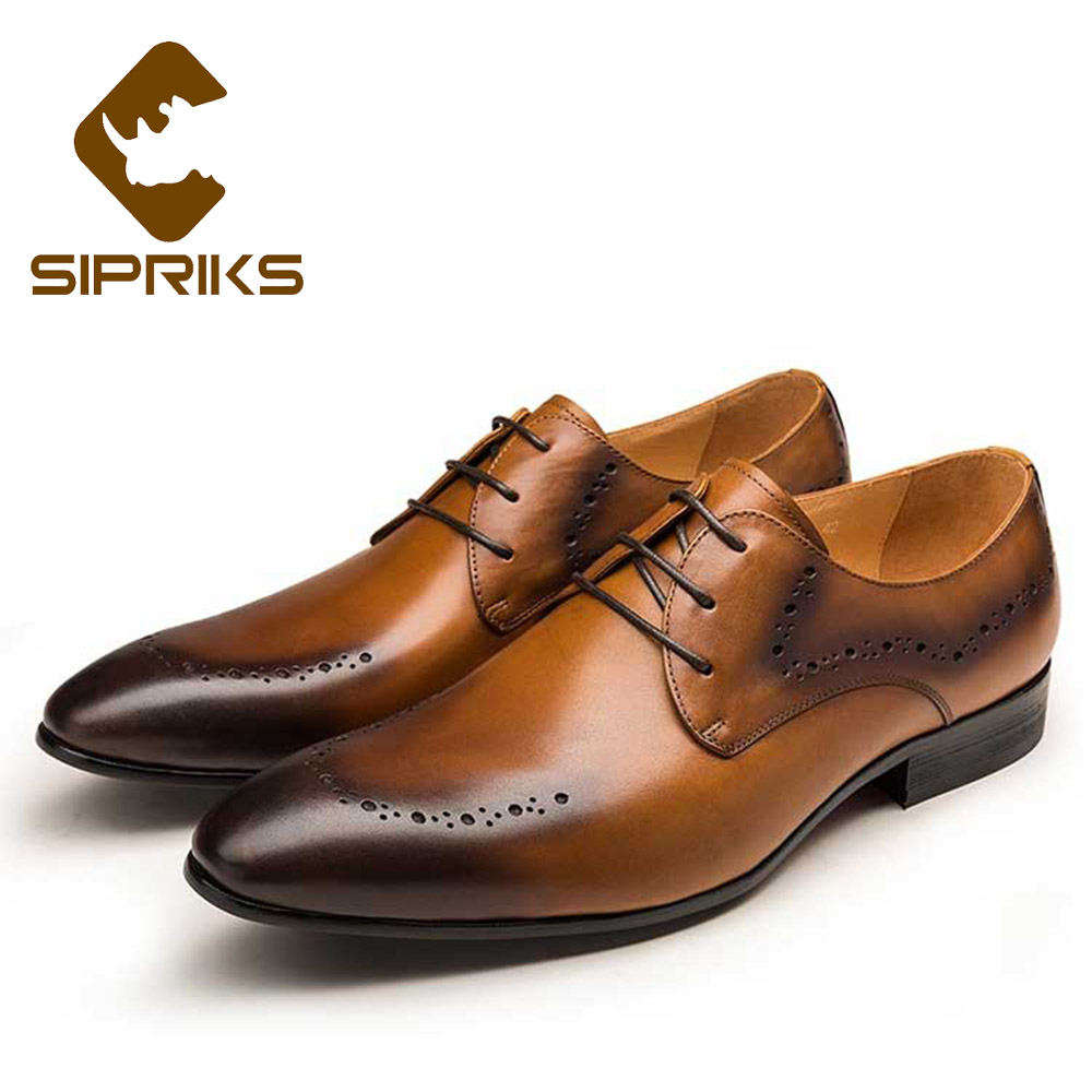 Sipriks Luxury Unique Designer Dress Shoe For Men Genuine Leather Carved Derby Shoes Tan Leather Party And Wedding Flats Suits grimentin fashion genuine leather mens dress shoes italy designer carved top quality cowhide men shoe flats for wedding business
