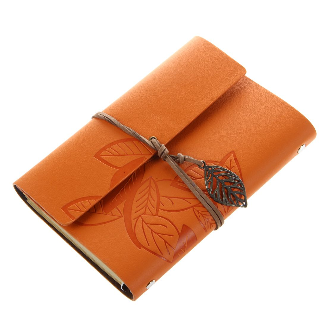 PU Leather Diary book Notebook Leaf Pendant Vintage Notebook 19x13.5cm, Orange