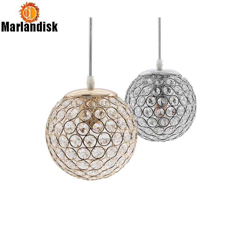 E27 Modern Nice Pendant Lights Gold/Silver Pendant Light,Round Ball Crystal D15CM Pendant Lamps For Living Room Bed Room(DN-65)