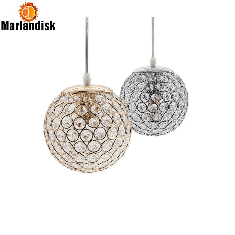 Lampes suspendues modernes or/argent, E27 en cristal de boule ronde D15CM pour la chambre du lit (p