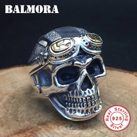 BALMORA 100 Real 925 Pure Silver Jewelry Vintage Skull Rings For Men Male High Quality Silver