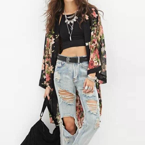 2017 Fashion New Floral Print Chiffon Printed Long-Sleeved Women's Top Blouses Maxi Kimono Cardigan