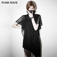 PUNK RAVE Rock Asymmetrical Hem Black Sleeveless Dress Midi Length Mesh Shawl Women Punk Casual Dresses