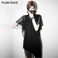 PUNK RAVE Rock Asymmetrical Hem Black Sleeveless Dress Midi Length Mesh Shawl Women Punk Casual Dresses Goth Evening Party Club