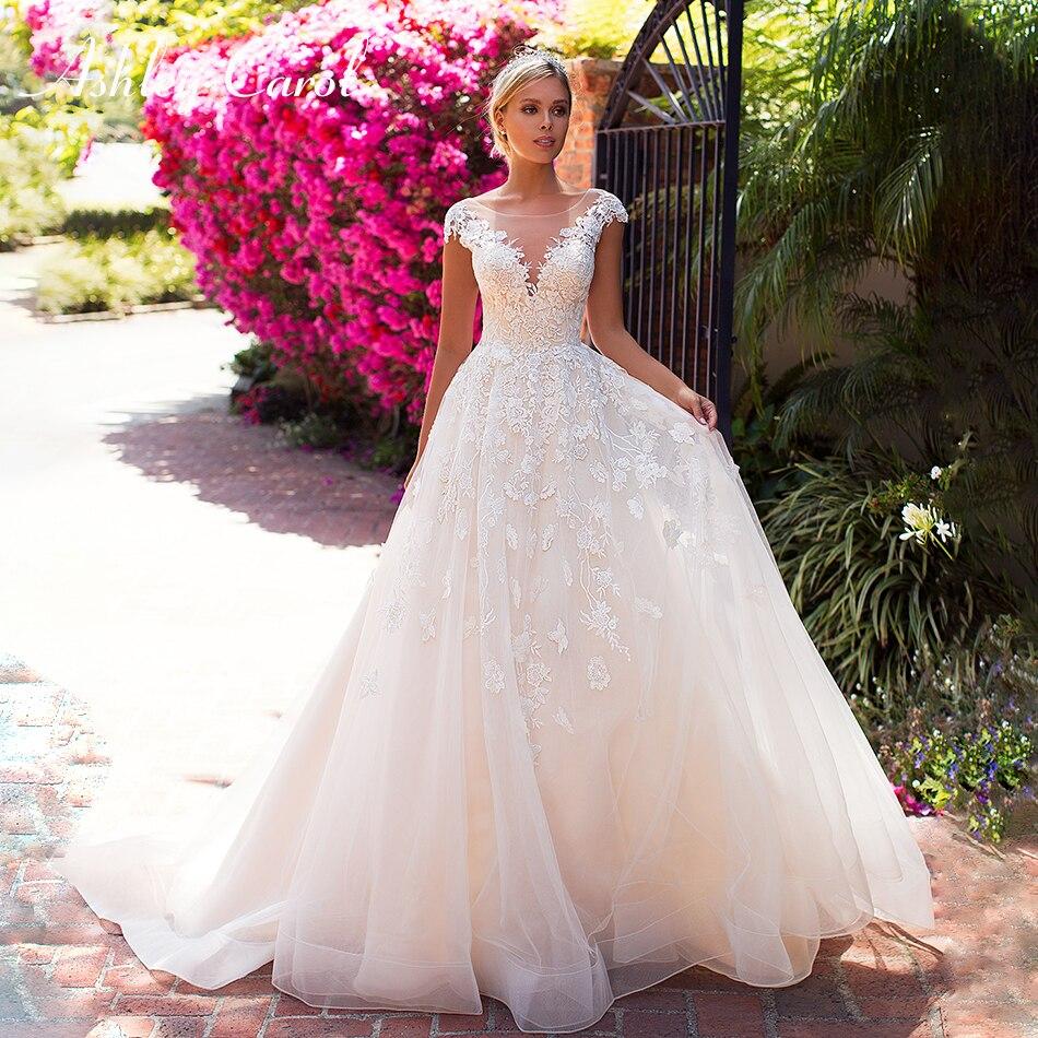 Ashley Carol Fashion Illusion Back Boho Wedding Dress 2019 Appliques Off the Shoulder Sexy V neckline