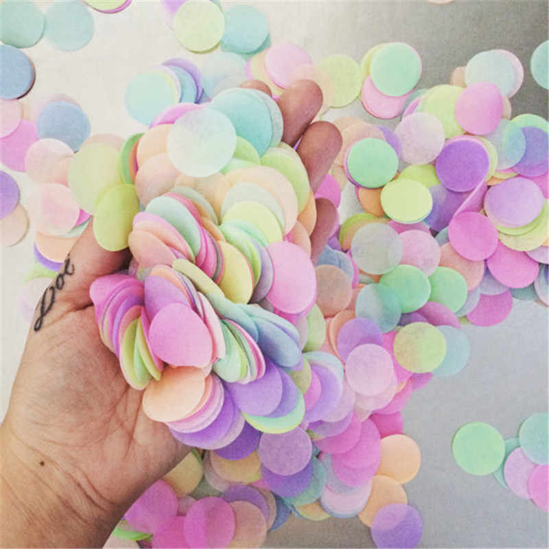 1000pcs 2.5cm Round Tissue Confetti Mixed Color Sprinkles Paper Confetti for Wedding Graduation Mermaid Party Decorations