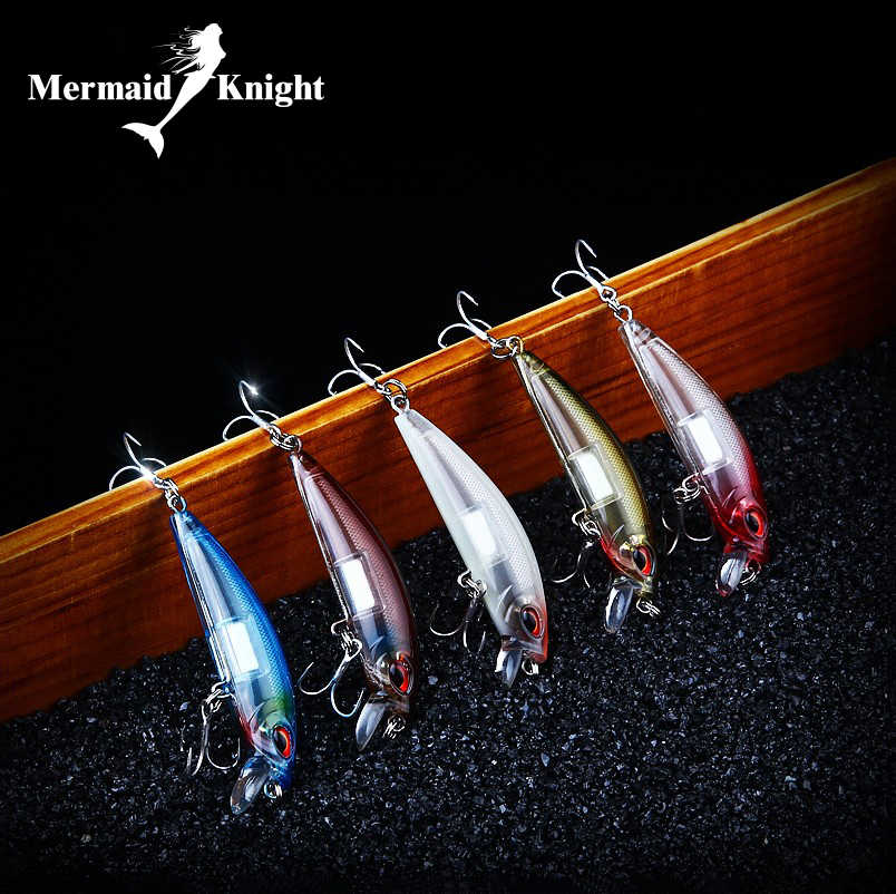 MermaidKnight  Fishing Lures Shad,5colo rFor Choose Quality professional minnow 6.5cm 12g Luminous Bait Tungsten ball crank bait